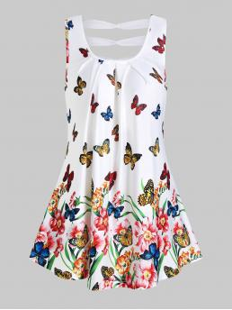Shopping Polyester,polyurethane Floral White Fashion Butterflies and Flower Print Ruched Tank Top
