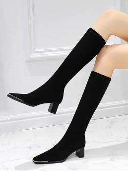 Fashion Natural Black 5cm Suede Solid Color Knee Length Boots