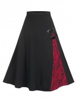 Black Others Mid-calf Spring Panel Buckled a Line Skirt on Sale