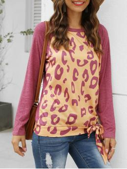 Womens Full Sleeve Cotton,polyester Leopard Red Wine Raglan Sleeve Knotted T-shirt
