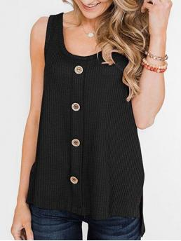 Cotton,polyester Solid Black Fashion High Low Slit Buttoned Textured Tank Top Discount