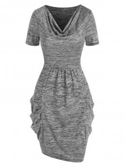 Beautiful Smokey Gray Solid Cowl Neck Short Sleeves Space Dye Cowl Side Dress