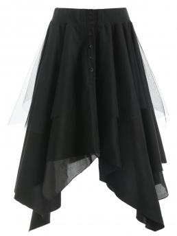 Clearance Black Solid Ankle-length Winter Mesh Panel Faux Suede Long Handkerchief Skirt