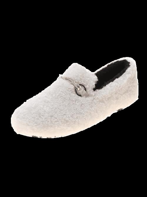 Clearance Beige Wool Solid Rubber Embellished Fuzzy Shoes