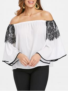 Three Quarter Sleeve Polyester Solid White Bare Shoulder Blouse on Sale