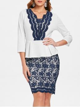 White Patchwork Square Collar Polyester Lace Applique Peplum Dress Cheap
