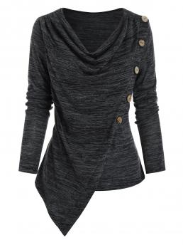 Full Sleeve Polyester,rayon Solid Color Ash Gray Buttons Space Dye Asymmetric Top Fashion