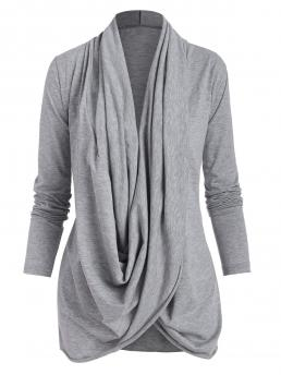 Full Sleeve Polyester Solid Color Gray Cowl Front Crossover Sleeve Tee Cheap