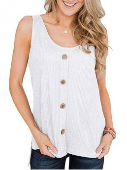Womens Cotton,polyester Solid White Fashion High Low Slit Buttoned Textured Tank Top