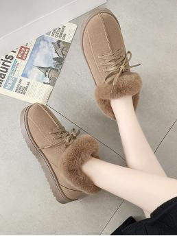 Trending now Brown Suede Solid Color Tpr Lace up Faux Fur Flat