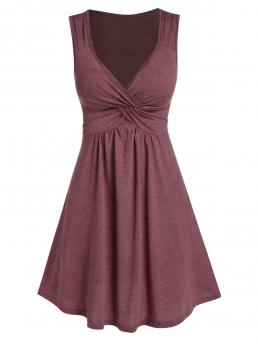Womens Firebrick Solid V-neck Sleeveless Front Knot Fit and Flare Dress