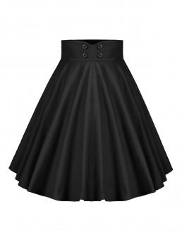 Discount Black Solid Mini Summer Buttoned a Line High Rise Skirt