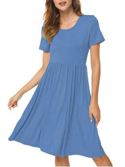 Blue Solid Round Collar Short Sleeves Pocket Pleated a Line Clearance