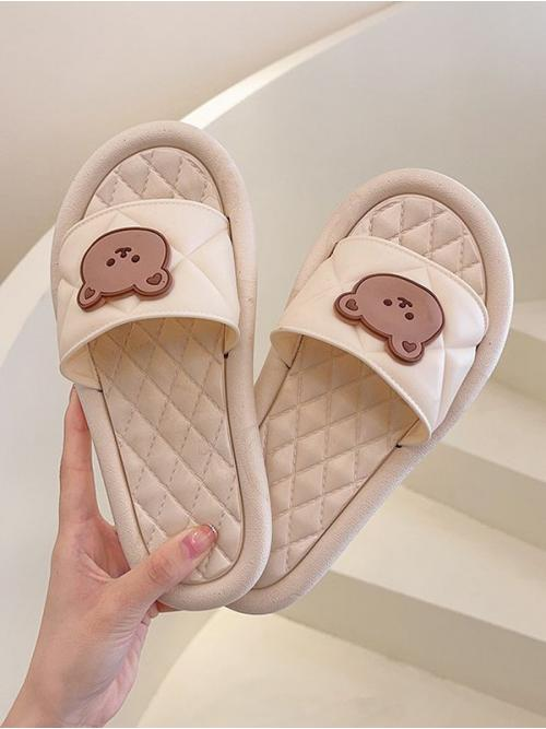 Beige Pu Animal Rubber Round Toe Bear Quilted Vamp on Sale