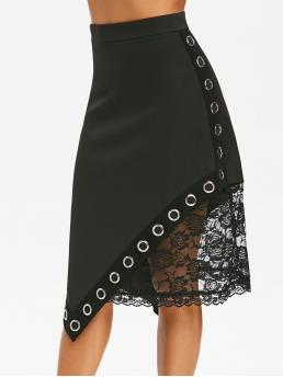 Black Solid Mid-calf Spring Gothic Asymmetric Grommets Lace Insert Skirt Ladies