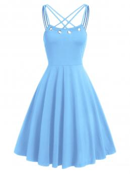Denim Blue Solid Straps Sleeveless Collar Fit and Flare Dress Trending now