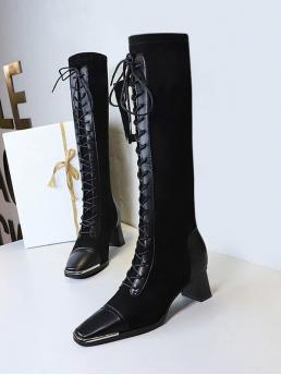 Black 5cm Pu,suede Solid Color Lace up Patchwork Knee Length Boots on Sale