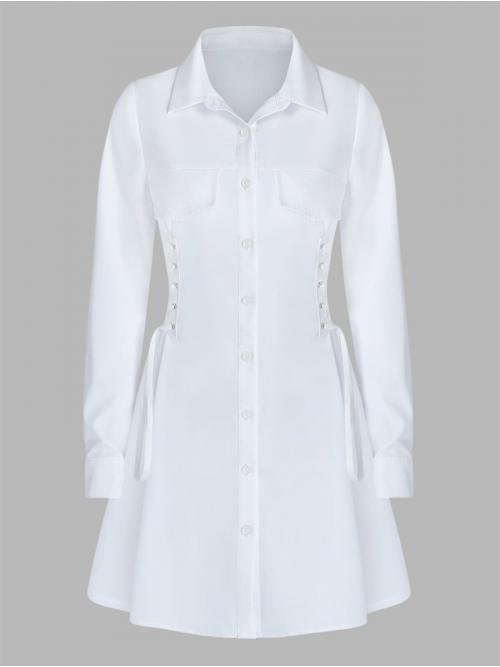 Sale White Solid Turn-down Collar Long Sleeves Long Sleeve Side Lace-up Shirt Dress
