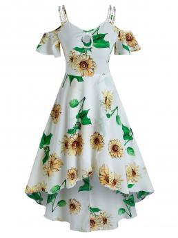 Clearance White Floral Spaghetti Strap Short Sleeves Sunflower Print Cold Shoulder Overlap Dress