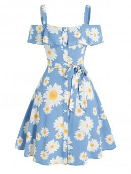 Fashion Light Blue Floral Square Collar Cold Shoulder Daisy Print Ruffled Dress