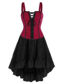 Affordable Black Others Knee-length Summer Lace up Cami Top and Layered Lace Two Piece Skirt Sets