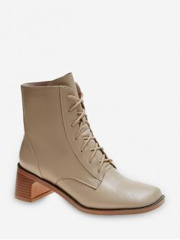 Discount Warm White Pu Solid Fall High Heel Lace up Boots