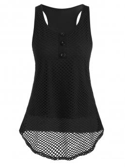 Polyester Solid Black Fashion Fishneted Racer Tank Top Beautiful