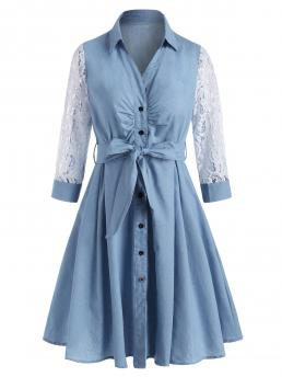 Ladies Light Blue Others Shirt Collar Cotton,polyester Lace Sleeve Belt