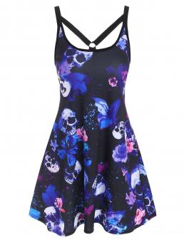 Lavender Blue Skull Scoop Neck Sleeveless O Ring Strappy Beautiful