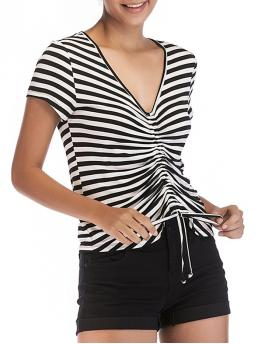 Clearance Short Sleeve Rayon,spandex Striped Black V Neck Pleated T-shirt