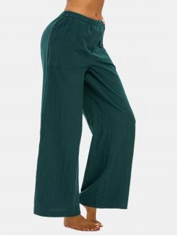 Womens Deep Green Solid Loose Normal Pull on