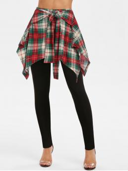 Multi-a Plaid Regular Normal Tie Front Skirted Pants Fashion