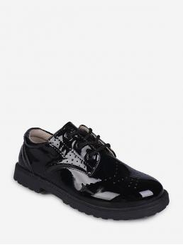 Fashion Black Patent Leather Others Vintage Wingtip Round Toe Shoes
