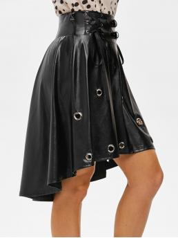 Women's Black Solid Knee-length Spring Punk Grommets High Low Faux Leather Skirt