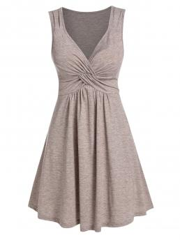 Fashion Light Brown Solid V-neck Sleeveless Front Knot Fit and Flare Dress
