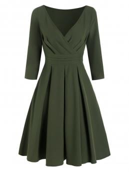 Women's Army Green Solid V-neck Polyester,spandex Pleated a Line Surplice Dress