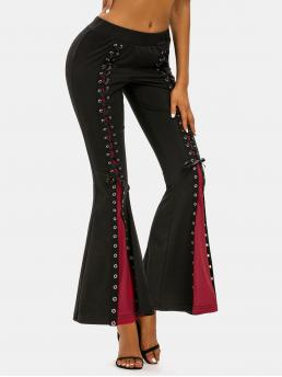 Beautiful Black Others Regular Normal Two Tone Flared Pants