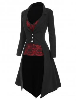 Sale Black Skulls Full Sleeve Polyester Halloween High Low Coat with Skull Camisole