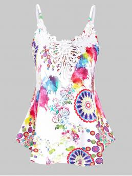 Polyester,spandex Floral White Casual Colorful Flower Print Lace Insert Cami Tank Top Trending now