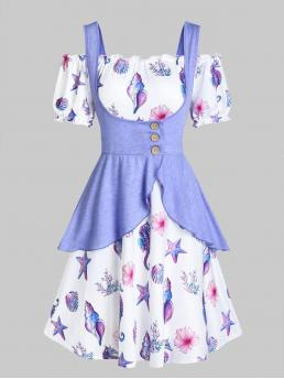 Mauve Floral off the Shoulder Short Sleeves Shells Print Dress and Peplum Tank Top Pretty