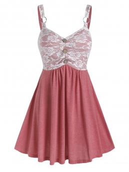 Pink Others Sweetheart Neck Sleeveless Lace Insert Mock Button Dress Sale