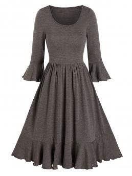 Clearance Light Coffee Solid Round Collar Polyester,rayon Flounce Poet Sleeve Pleated a Line Dress