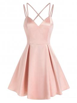 Cheap Light Pink Solid Spaghetti Strap Sleeveless Strappy Backless Pleated Satin Dress