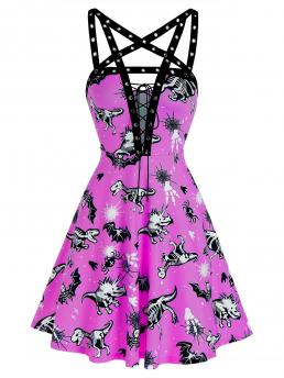 Clearance Tyrian Purple Skeleton Plunging Neck Sleeveless Punging Neck Grommet Strap Dress