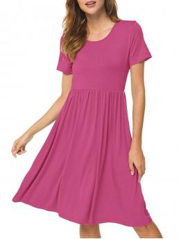 Trending now Light Pink Solid Round Collar Short Sleeves Pocket Pleated a Line
