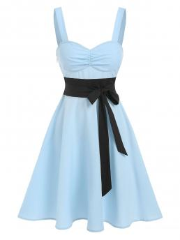 Light Blue Colorblock Sweetheart Neck Sleeveless Two Tone Ruched Flare Dress Trending now