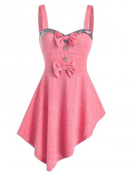 Discount Polyester,rayon Others Pink Fashion Sequin Panel Bow Detail Asymmetric Tank Top