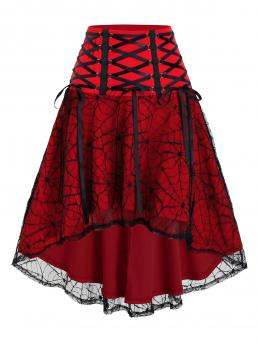Trending now Blood Red Others Mid-calf Spring Halloween Spider Web Lace High Low Lace-up Skirt