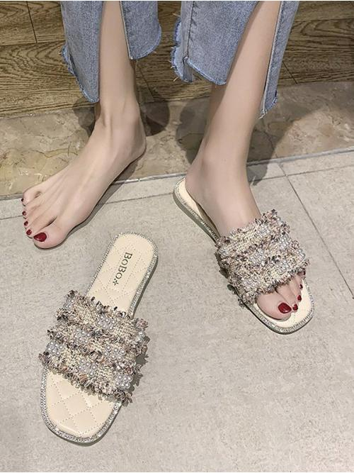 Cheap Pink Cloth Others Rubber Faux Pearl Woven Flat Slippers