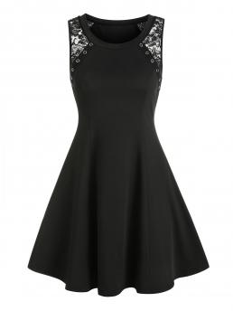 Black Solid Round Collar Sleeveless Sheer Lace Insert Grommet a Line Dress Sale